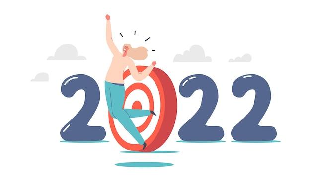 Zakelijke vrouw karakter vieren overwinning of succesvolle deal springen in de lucht met ja gebaren in de buurt van 2022 nummer met doel. gelukkig manager succesvolle werknemer met armen omhoog. cartoon vectorillustratie