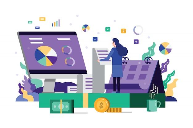 Zakelijke vrouw lezen en analyse belasting financiële documenten.