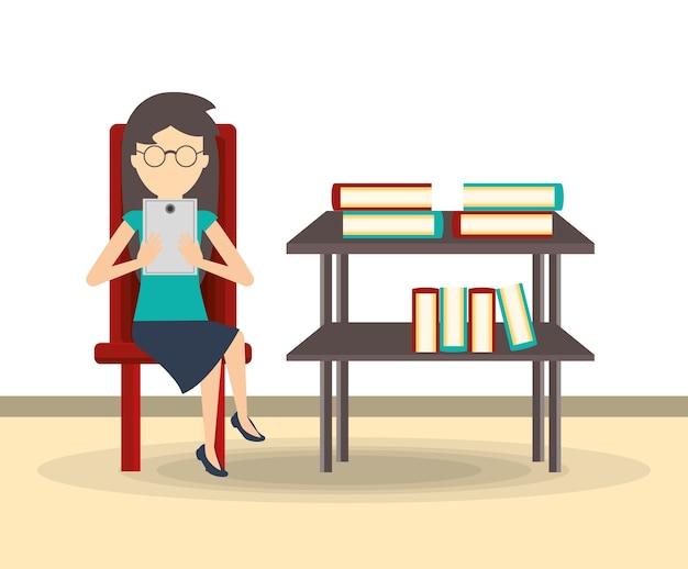 Zakelijke vrouw lezen op een tablet