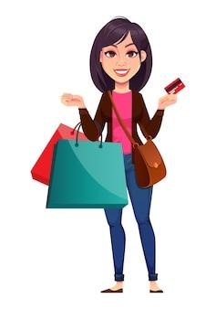 Zakelijke vrouw met boodschappentassen