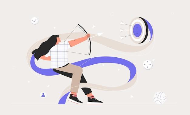 Zakelijke vrouw schieten met boog gericht pijl naar doel. zakelijk succes idee en persoonlijke ontwikkeling, motivatie. vlakke stijl vectorillustratie.
