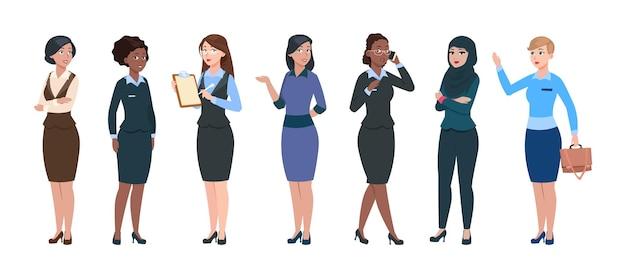Zakelijke vrouw tekens. geïsoleerde professionele jonge zakenvrouwen. slimme elegante dames, zakelijke dresscode voor kantoor. arabische en afro-amerikaanse dames, secretaresse of assistenten vectorillustratie