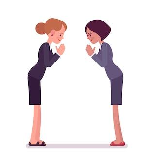 Zakelijke vrouwelijke partners die een boog geven