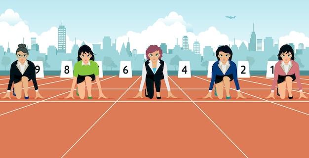 Zakelijke vrouwen aan de startlijn klaar voor de wedstrijd