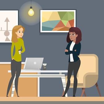 Zakelijke vrouwen die in co-wotking werken als freelancer.