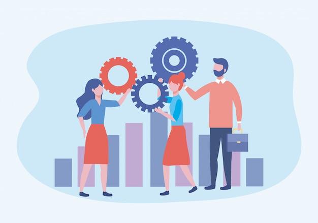 Zakelijke vrouwen en zakenman met versnellingen en statistieken bar