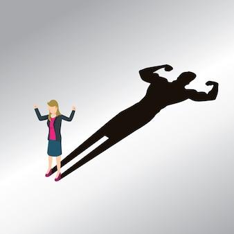 Zakelijke vrouwen met krachtig lichaam isometrisch