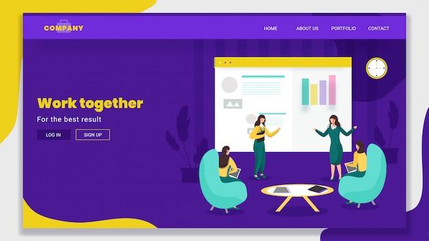 Zakelijke vrouwen werken samen met online info grafische presentatie op paars voor teamwork gebaseerde landingspagina.