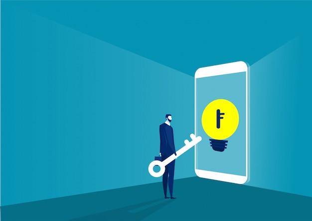 Zakelijke wachttoets kijk om te ontgrendelen op smartphone