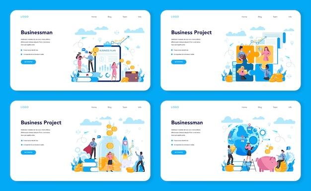 Zakelijke webbanner of bestemmingspagina-set. idee van strategie en prestatie in teamwerk. doel en sleutel tot succes. brainstorm en strategie. geïsoleerde vectorillustratie in vlakke stijl