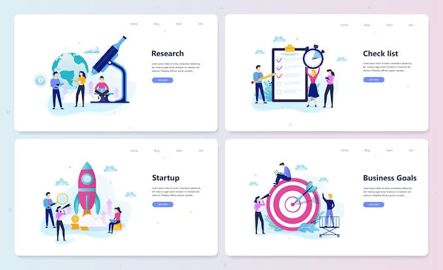 Zakelijke website sjabloon set. doelen en onderzoek, opstarten