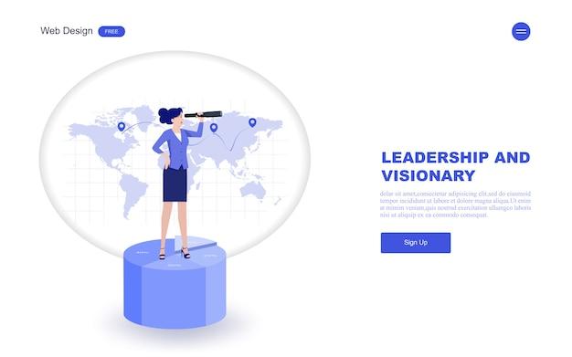 Zakelijke websjabloon van visie, leiderschap.