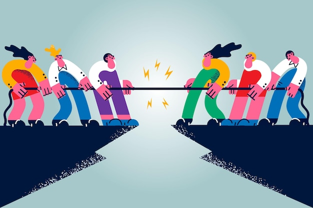 Zakelijke wedstrijd, rivaliteit, uitdagingsconcept. groep mensen stripfiguren werknemers maken rivaliteit wedstrijd vechten met touw met elkaar concurrerende vechten vectorillustratie