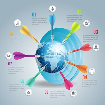 Zakelijke wereld doelmarkt infographic met kleuren dart.