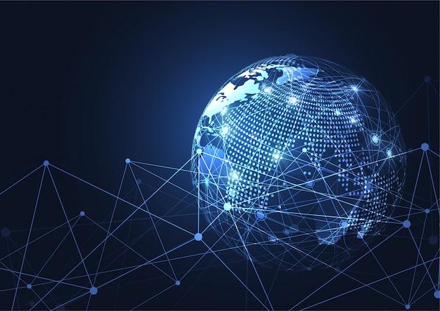 Zakelijke wereldwijde netwerkverbinding. wereldkaartpunt