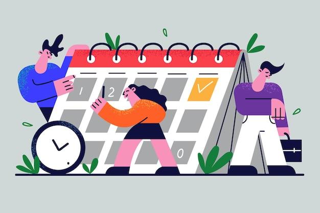 Zakelijke werknemers ondernemers maken kalenderplanning