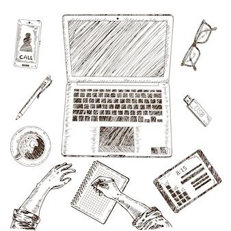 Zakelijke werkplek schets concept