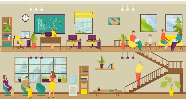 Zakelijke werkplek, teamkantoor, vectorillustratie. man vrouw mensen karakter bij corporate job, coworking space set. bedrijfsteamwerk met computer, schoolbord, ontspannen op de bank, fauteuil.