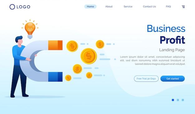 Zakelijke winst bestemmingspagina website illustratie vector sjabloon