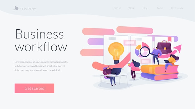 Zakelijke workflow-bestemmingspagina-sjabloon