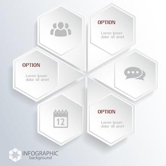 Zakelijke zeshoekige infographics met lichte webelementen en pictogrammen