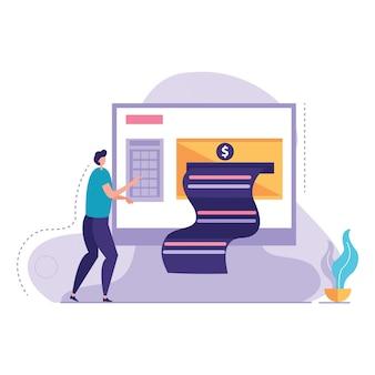 Zaken die bankbiljet vectorillustratie onderzoeken