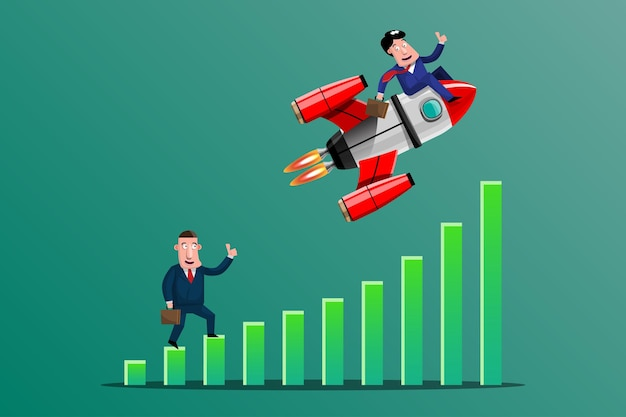 Zaken doen met goede ideeën het is alsof je een raket duidelijk en snel op de top van de grafiek hebt gericht. illustratie in 3d-stijl Premium Vector