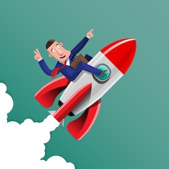 Zaken doen met goede ideeën het is alsof je een raket duidelijk en snel op het doel richt. illustratie in 3d-stijl