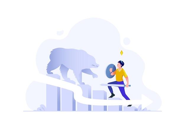 Zaken financiën man aanval beer winst verlies daling grafiek naar beneden inkomen vlakke stijl illustratie
