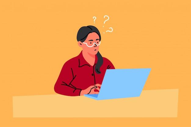 Zaken, freelance, probleem, denken, idee, werkconcept