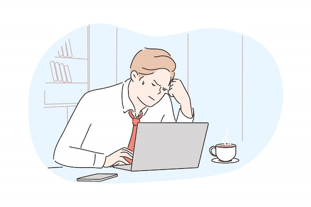 Zaken, frustratie, mentale stress, depressie, werkconcept