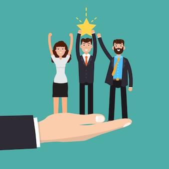 Zaken helpen. succesvol team. teamwork. investeringsconcept.