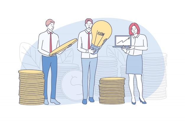 Zaken, investeringen, idee, winst, geld, analyse, kapitaalconcept