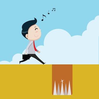 Zaken lopen gelukkig in een val, bedrijfsconcept, vector cartoon
