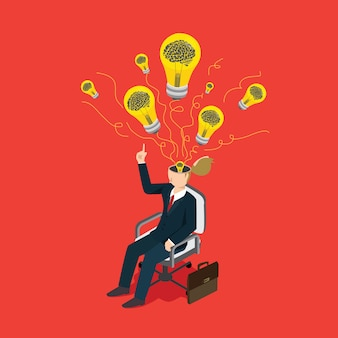 Zaken man denken over idee