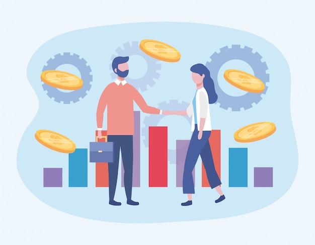 Zaken man en zaken vrouw met statistieken balk en munten