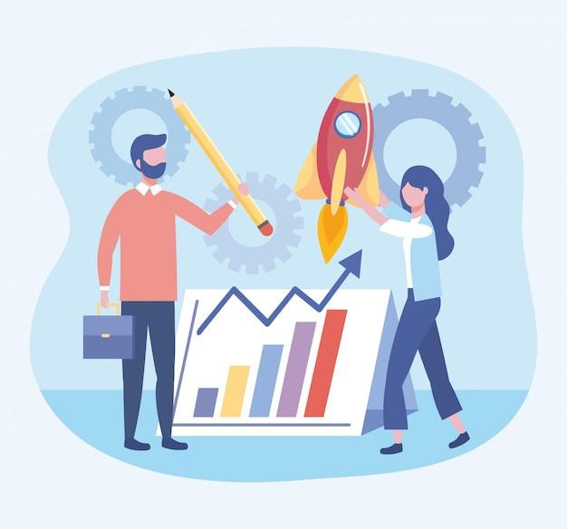 Zaken man en zaken vrouw met statistieken balk en potlood