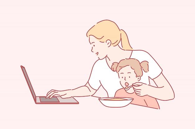 Zaken, quarantaine, coronavirus, freelance moederschap, jeugd, werkconcept