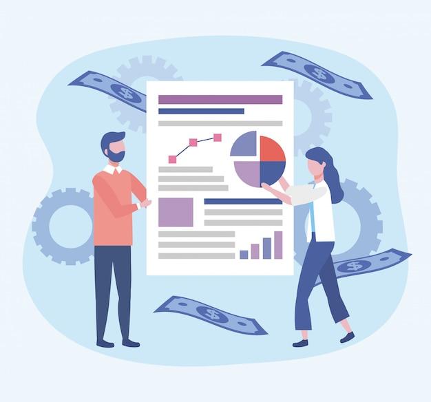 Zaken vrouw en zaken man met diagram document informatie