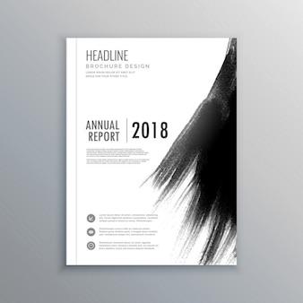 Zakenblad brochure met zwarte penseelstreek