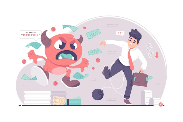 Zakenlieden achtervolgd door schuldmonsters concept illustratie