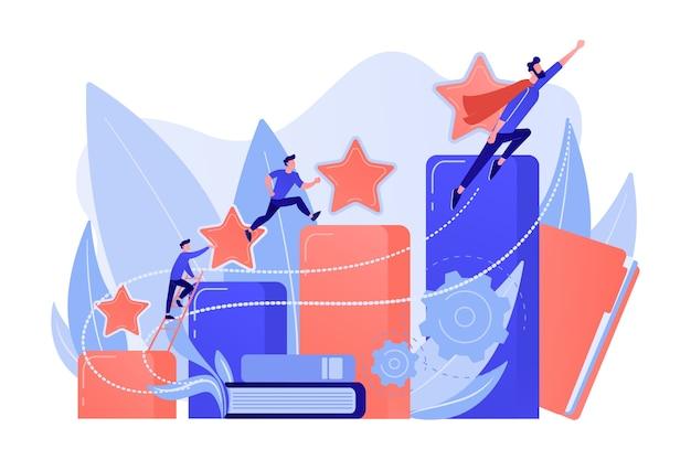Zakenlieden beklimmen de kolomgrafiek van de groei. carrière- en persoonlijkheidsontwikkeling, careerbuilder, carrièreplanning voortgangsconcept op witte achtergrond.
