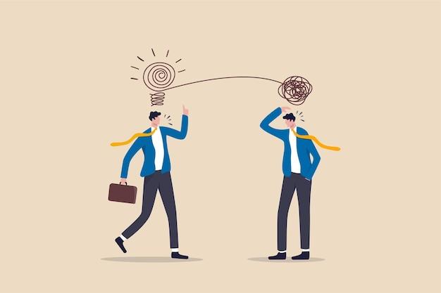 Zakenlieden bespreken werk met behulp van creativiteit rommelige lijn oplossen in gloeilamp idee