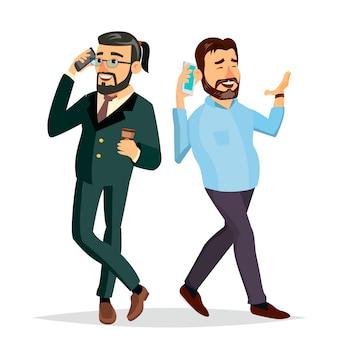 Zakenlieden die aan elkaar op de telefoonillustratie spreken
