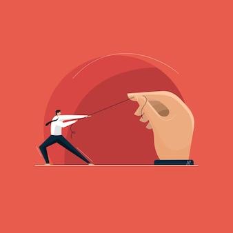 Zakenlieden die aan het touw trekken, geven nooit hun houding op, harde zakelijke concurrentie