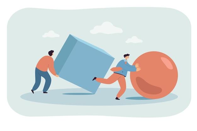 Zakenlieden die abstracte bal en kubus in race duwen