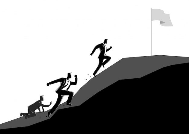 Zakenlieden die bergopwaarts rennen om de vlag te grijpen