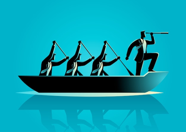 Zakenlieden die de boot roeien