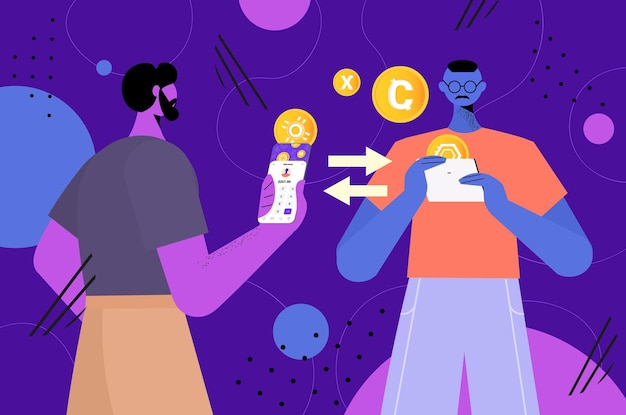 Zakenlieden die digitale munten verzenden en ontvangen, virtuele geldoverdracht, cryptocurrency-uitwisseling