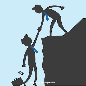 Zakenlieden die elkaar helpen